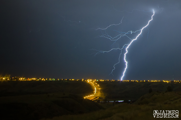 Lightning strike near Lethbridge Whoop-Up Drive