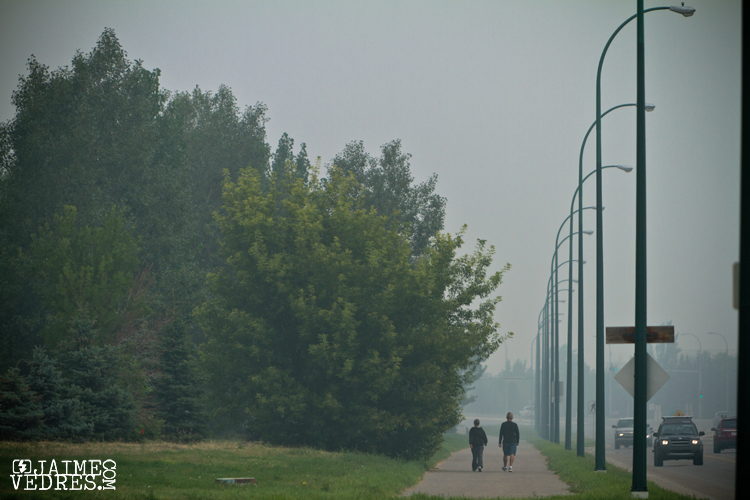Luming smoke from BC's forest fires over Lethbridge ALberta