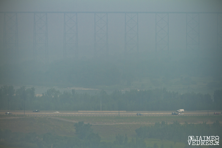 Smoke in Lethbridge from 2010 BC Forest Fires.