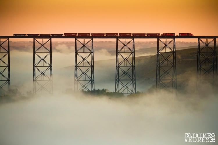 Lethbridge High Level Bridge in Fog