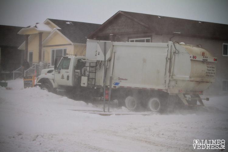 Lethbridge Garbage Truck Stuck