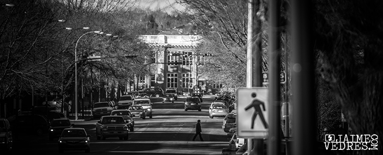 Pedestrian on 5th Ave South Lethbridge