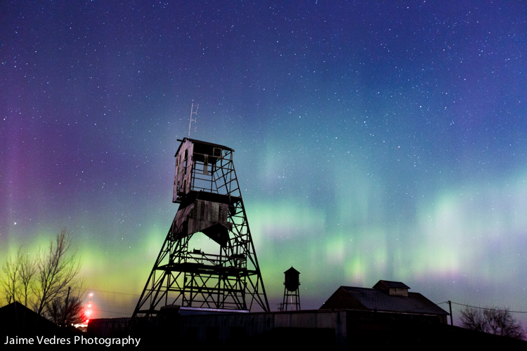 Northern Lights, Lethbridge, Jaime Vedres, Aurora, Lethbridge Mine