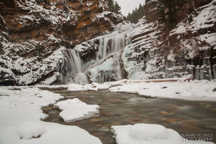 Winter, Cameron Falls, Waterton